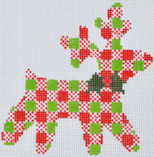 Needlepoint Handpainted CHRISTMAS Danji Plaid Reindeer 4x4