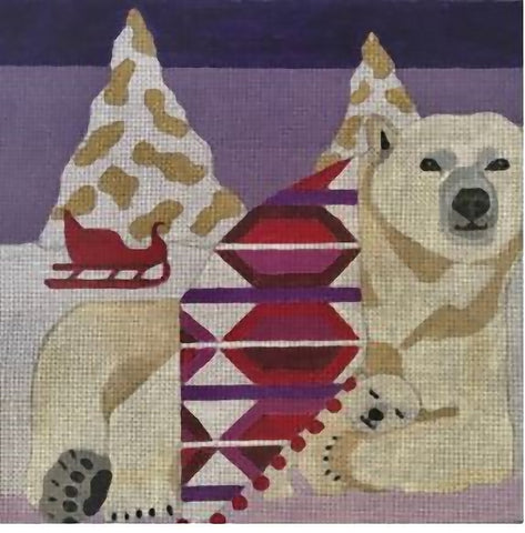 Needlepoint Handpainted CHRISTMAS Melissa Prince Polar Bear and Cub 10x10