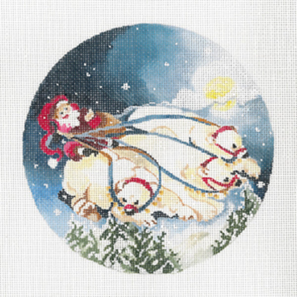 Needlepoint Handpainted Christmas JOY JUAREZ Polar Bear Flight 6""
