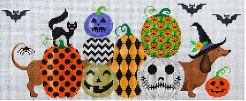 Needlepoint Handpainted Halloween JP Needlepoint Princess in Pumpkin Patch