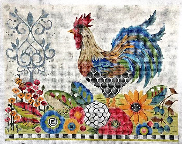 Needlepoint Handpainted Kelly Clark Provence Rooster + SG + Kit