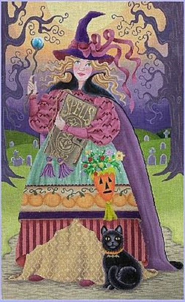 Needlepoint Handpainted HALLOWEEN Brenda Stofft Prudence 12x19