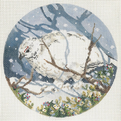 Needlepoint Handpainted Canvas JOY JUAREZ Ptarmigan BIRD Ornament 6""
