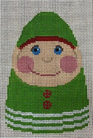 Needlepoint Handpainted CHRISTMAS Labors of Love Pudgy Elf Ornament