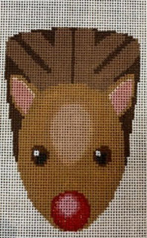 Needlepoint Handpainted CHRISTMAS Labors of Love Pudgy Rudolph Ornament
