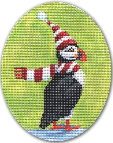 Needlepoint Handpainted CHRISTMAS CBK Puffin w/ Scarf 4x5