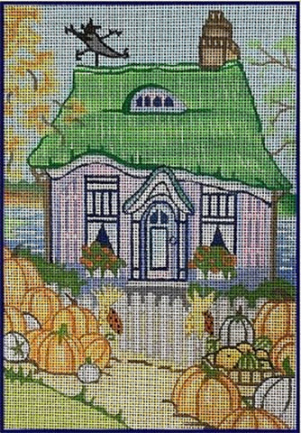 Needlepoint Handpainted Brenda Stofft PUMPKIN Cottage 6x8