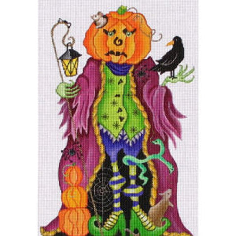 NEEDLEPOINT Handpainted Amanda Lawford HALLOWEEN Pumpkin Man 12""
