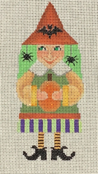 Needlepoint Handpainted Halloween Brenda Stofft Pumpkin Witch 6""