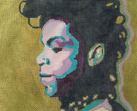 NEEDLEPOINT Handpainted PRINCE Purple Reign Tess and Thorn 12.5x10