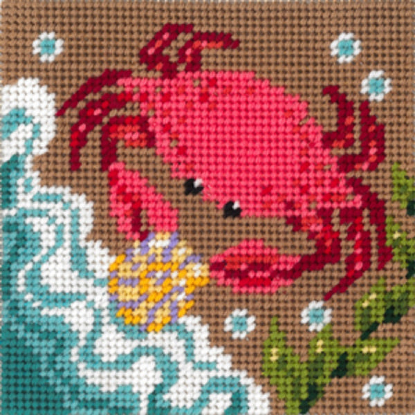 Needlepoint QUICKPOINT Kit HANDPAINTED Sandra Gilmore CRAB 9x9