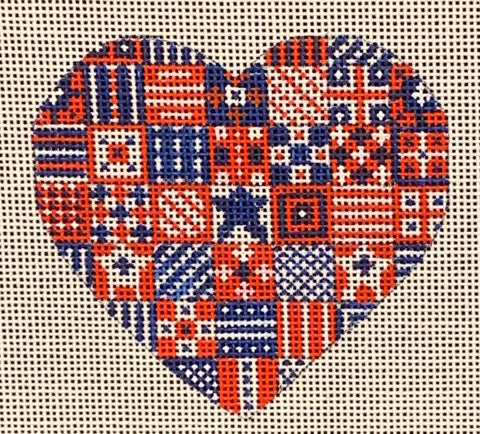 Needlepoint Handpainted CHRISTMAS Danji Quilt Heart 3x3