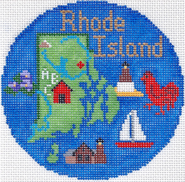 Needlepoint Handpainted Silver Needle RHODE ISLAND Christmas