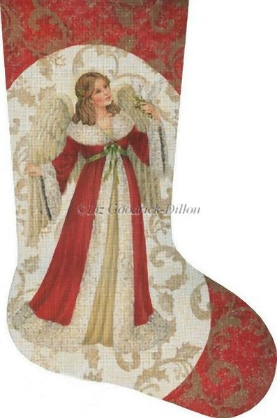 Needlepoint Handpainted Liz Goodrick Dillon Christmas Stocking Red Angel w/ Dove