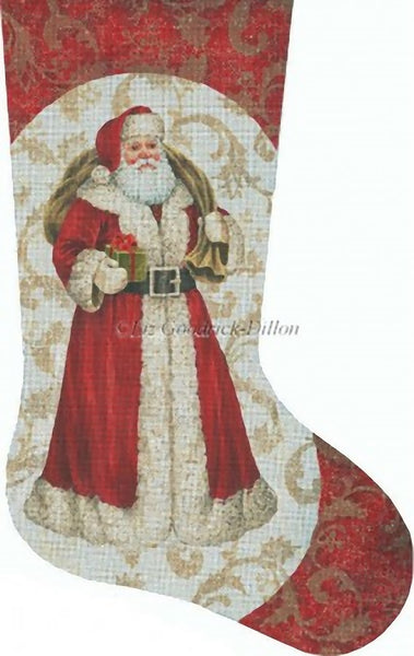 Needlepoint Handpainted Liz Goodrick Dillon Christmas Stocking Red Santa w/ Gift