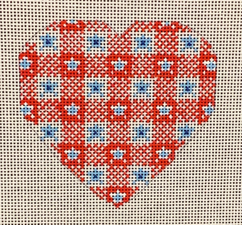 Needlepoint Handpainted CHRISTMAS Danji Red and Blue Heart 3x3