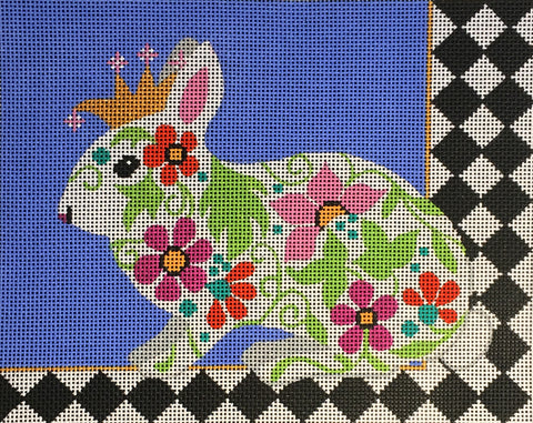 Needlepoint Handpainted Amanda Lawford Regal Bunny