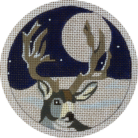Needlepoint Handpainted CHRISTMAS Melissa Prince Reindeer in Woods 4""