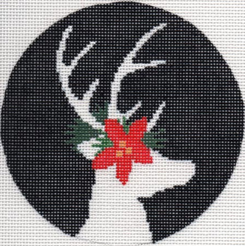 Needlepoint Handpainted Christmas LIORA MANNE Reindeer on Black Ornament 4.5""