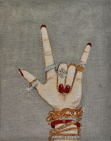 Needlepoint Handpainted Alice Peterson Rock on Jewelry 9x11