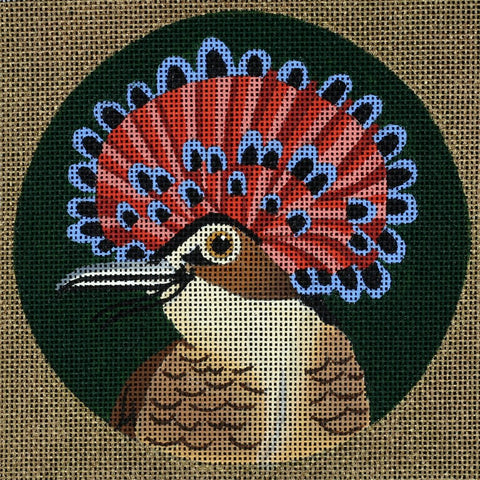 Needlepoint Handpainted Dede Coaster Bird Royal Flycatcher 5.5""