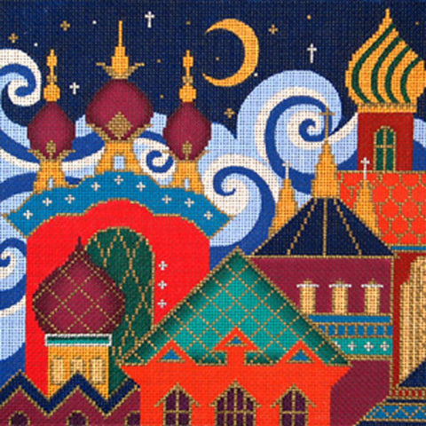 NEEDLEPOINT Handpainted Amanda Lawford RUSSIA Skyline w/ Red 10x10