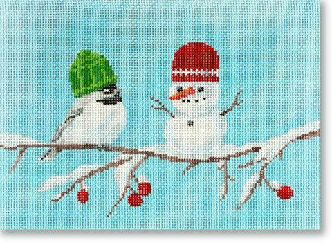 NEEDLEPOINT Handpainted CHRISTMAS Scott Church Chickadees Snowman