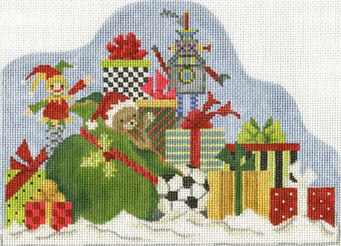 Needlepoint Handpainted Christmas Kelly Clark Sack Full o Presents 8x6