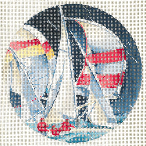 Needlepoint Handpainted CHRISTMAS Joy Juarez SAILBOATS in the Rain 6""