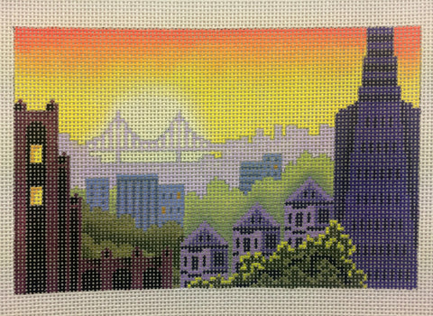 Needlepoint Handpainted Abigail Cecile SAN FRANCISCO Rooftop Postcard 4x6