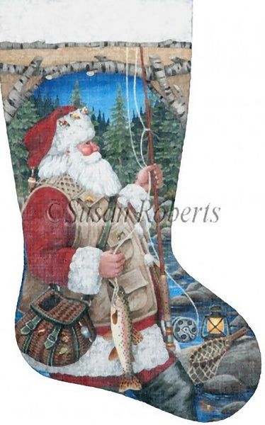 Needlepoint Handpainted Liz Goodrick Dillon Christmas Stocking Santa Fly Fishing