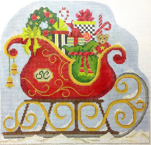Needlepoint Handpainted Christmas KELLY CLARK Santa Claus Sleigh 7x7