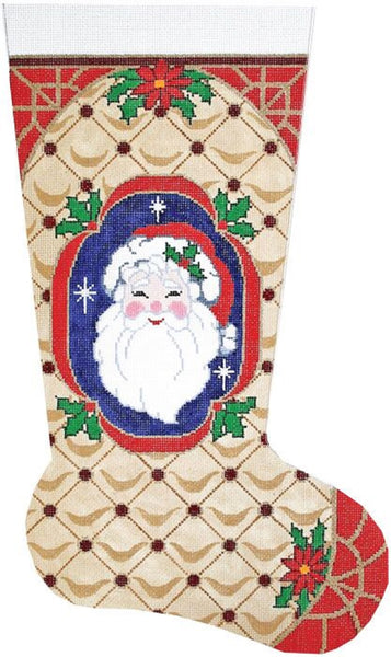Needlepoint Handpainted LEE Christmas STOCKING Santa Face 23""