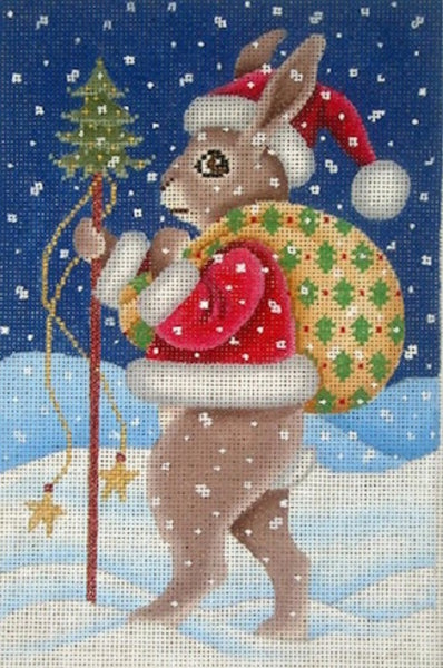 Needlepoint Handpainted Christmas Brenda Stofft SANTA Rabbit 6x9