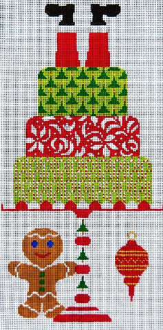 Needlepoint Handpainted CHRISTMAS JP Needlepoint Santa Takes the Cake 6x10