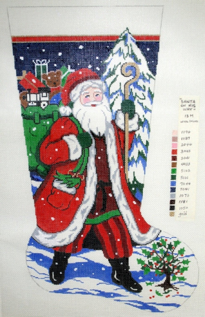 needlepoint handpainted canvas lee christmas stocking santa on his way 13m