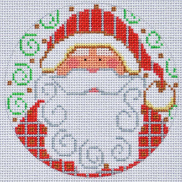 Needlepoint Handpainted CHRISTMAS Danji Ornament Santa with Checkers 4""