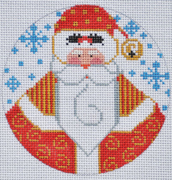 Needlepoint Handpainted CHRISTMAS Danji Ornament Santa with Holly