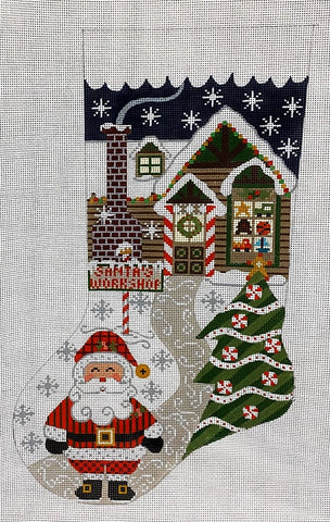 Needlepoint Handpainted Danji Christmas Stocking Santas Workshop 17""