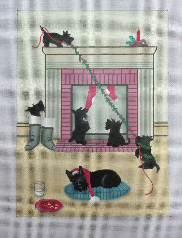 Needlepoint Handpainted Cindi Lynch SCOTTIE Doesn't Want Santa to Leave