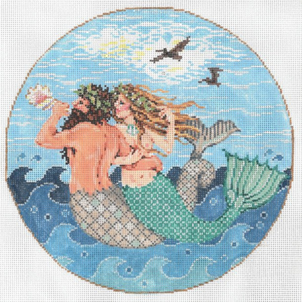 Needlepoint Handpainted Sandra Gilmore SEA SONG 8.25""
