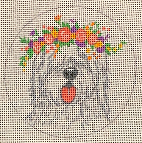 Needlepoint Handpainted CHRISTMAS Danji English Sheepdog 4""