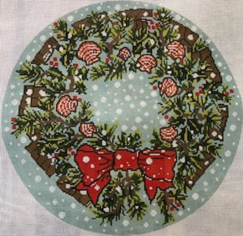 Needlepoint HandPainted CHRISTMAS Susan Wallace Barnes SHELL Wreath 14x14