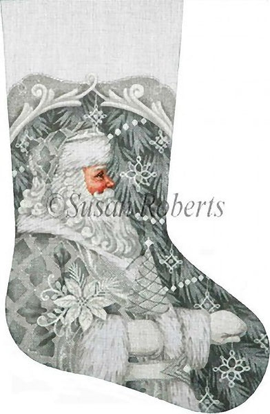 Needlepoint Handpainted LIZ Goodrick Dillon Christmas Stocking Silver Santa 21""