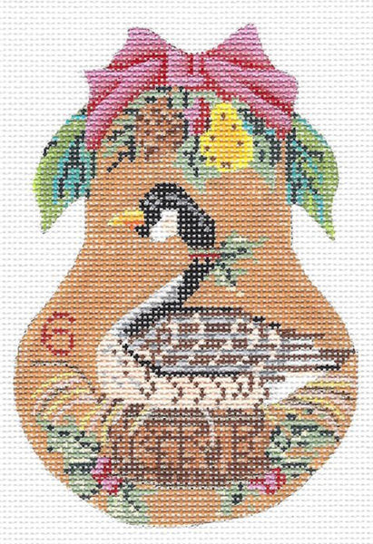 Needlepoint Handpainted KELLY CLARK Christmas Pear Six Geese a Laying +SG