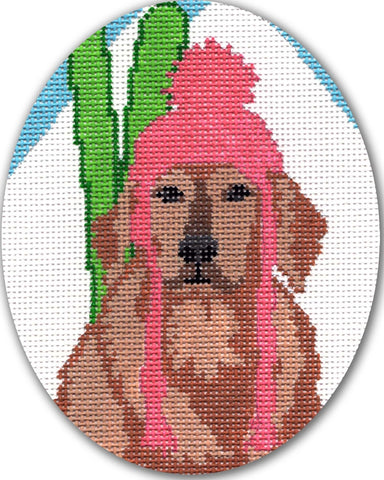 Needlepoint Handpainted CHRISTMAS CBK Dog Ski Bunny ORNAMENT 4x5