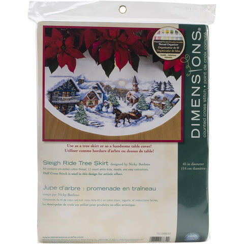 Counted Cross Stitch KIT CHRISTMAS Tree Skirt Sleigh Ride