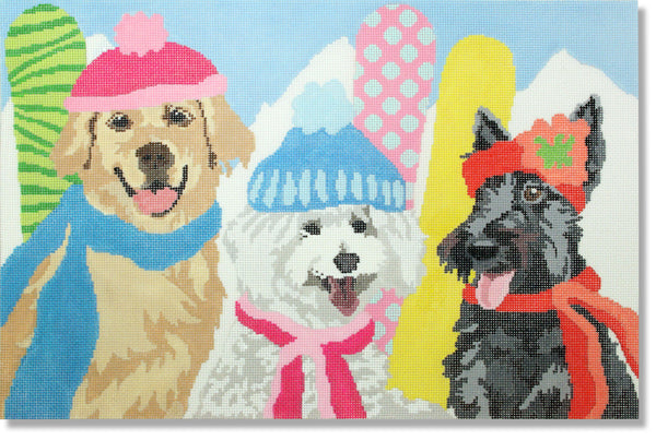 NEEDLEPOINT Handpainted LIORA MANNE Dog SNOW BELLES 14 x 9.5