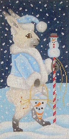 Needlepoint Handpainted Brenda Stofft SNOW BUNNY 5x9