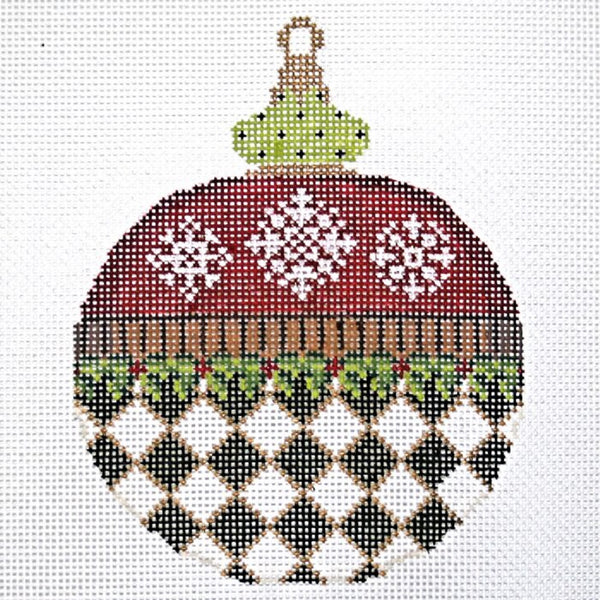 Needlepoint Handpainted KELLY CLARK Christmas Snowflakes Ornament
